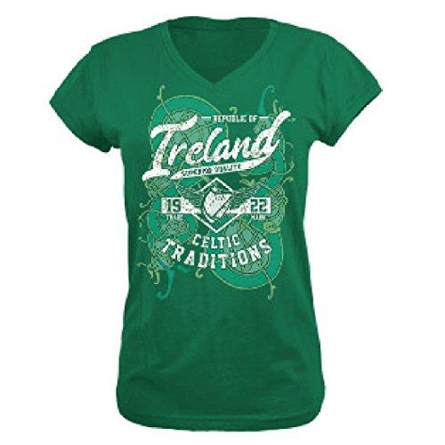 Traditional Irisches Damen Kurzarm T-Shirt Republic of Ireland (L)
