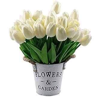 Lawei 30 Piezas Tulipanes Artificiales de tulipán de Tacto Real para decoración del hogar Oficina Boda Fiesta Festival (Blanco)