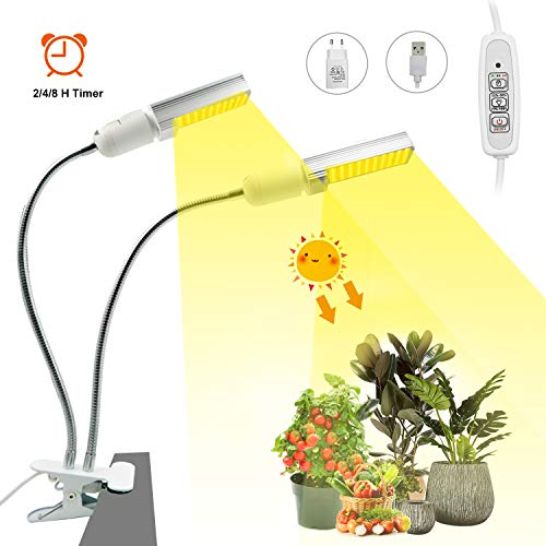 Pflanzenlampe Pflanzenlicht LED Vollspektrum Pflanzenleuchte 40W/88 LEDs | mit Timing-Funktion, 4 Arten von Helligkeit, E27 Pflanzenlampen für Zimmerpflanzen 360°Einstellbar USB [Energieklasse A+]