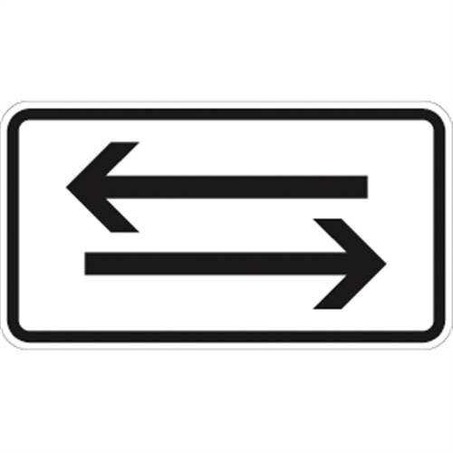 Verkehrszeichen VZ1000-30, Verkehr in beide Richtungen, waagerechte Pfeile, Alu, RA1, 23,1x42cm Verkehrsschild