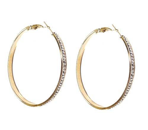 Glitzer Strass Creolen XL Silber oder Gold Metalllegierung Ohrringe Modeschmuck 5,7 cm (Gold)