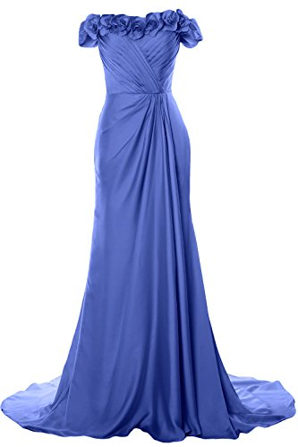 MACloth Women Off Shoulder with Flowers Long Prom Dress 2018 Evening Formal Gown Blau