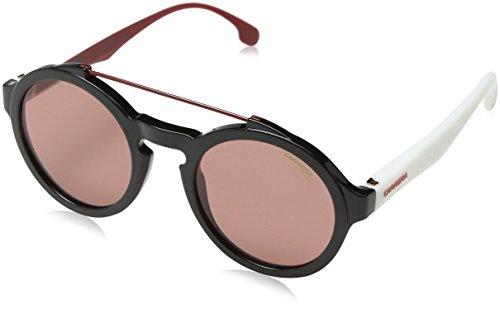 hsene 1002/S 4S 80S Sonnenbrille, Schwarz (BLACK WHITE/BURGUNDY), 51 ()