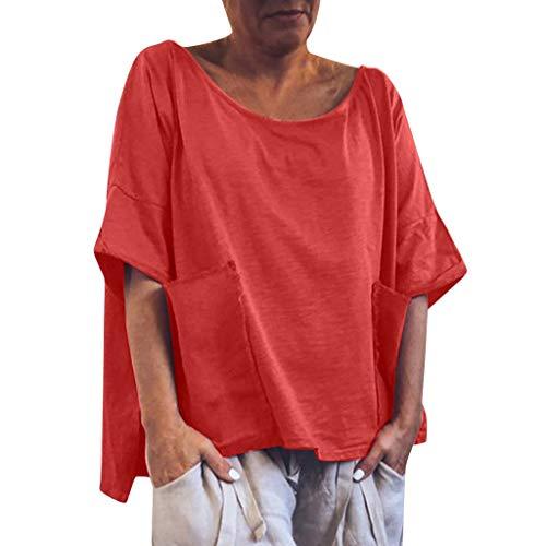 inenblusen,Frauen Casual O Ansatz Plus Size Solide Leinen Oversize Shirt Oberteile Lose Tägliche Bluse Shirt Tops S-2XL ()