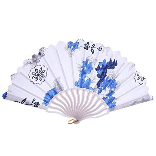 Chinesischen Stil Handventilator Bambus Papier Faltfächer Party Hochzeitsdeko voll von chinesischen Stil Papier Fan, geeignet für Erwachsene und Kinder Modely (24cm, Blau)