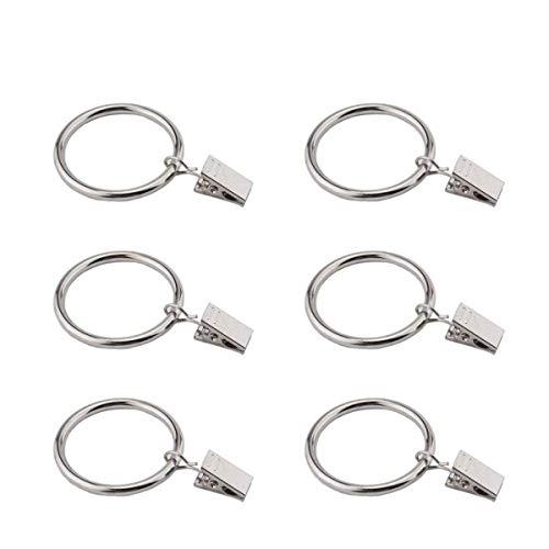 Lvcky 30Pcs Clip Ringe mit Ösen, rostfrei Metall Deko Draperie Rod Ring Haken mit Clips für Cafe Windows und Drapes, Passform bis 11/10,2cm Rod (35mm)