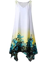 VEMOW Heißer Sommer Elegante Damen Frauen Plus Size Blumendruck Chiffon  Sleeveless Unregelmäßige Beiläufige Tägliche Party Strand 7c9db249b7