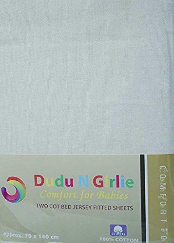 DuDu N Girlie 100Prozent Baumwolle Spannbetttuch für Babybett, 70cm x 140cm, weiß