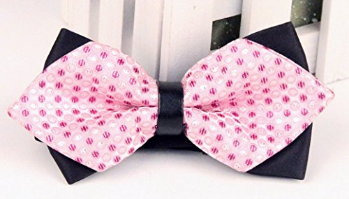 Panegy - Nœud papillon rayé - Lavallière avec double couche - Homme Soirée Businesse Mariage Cérémonie Déco Fête Costume Necktie 6*12cm Rose pois