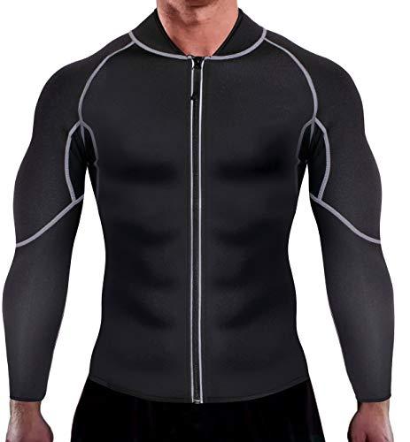Bingrong Herren Neopren Sauna-Anzüge Lange Ärmel Fitness Thermo Shapewear Hohe Kompression Trainingsoberteile Sportbekleidung Körperformer für Gewichtsverlust (Schwarz, XL)