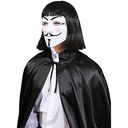 Anonymous Kostüm V Vendetta For (V wie Vendetta Maske Guy Fawkes Filmmaske Anonymous Faschingsmaske Revolution Halloweenmaske Replika Demo Anti Mask Anti Akta Demo Occupy Karnevalsmaske Karnevalskostüme)