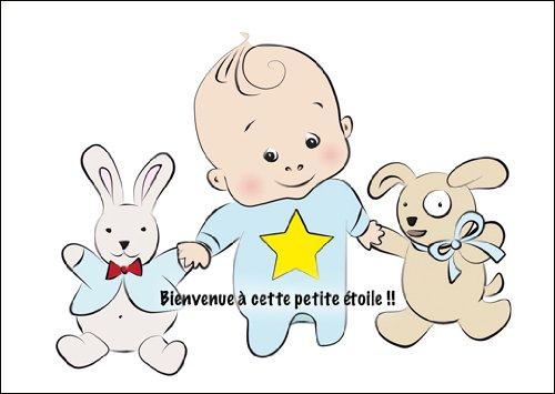 Im 5er Set: Süße französische Babkarte (Junge), Glückwunschkarte zur Geburt mit Baby Boy und Stofftieren: Bienvenue à cette Petite étoile !!
