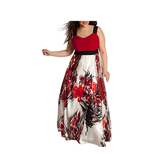 Size Prom Plus 200 Unter Kleider (Sommerkleider Damen VENMO Plus Size Frauen Blumen gedruckt lange Abend Party Prom Kleid Festlich Kleid (Asian Size:L))