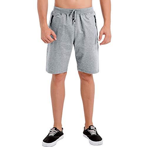 Umelar Herren Shorts Sport Shorts Herren Kurze Hose Herren Shorts Fitness Kurze Hose Jogging Hose Cotton Herren Short Herren Freizeit-Shorts Reißverschlusstaschen -