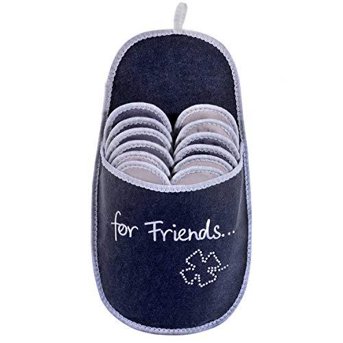 ONVAYA Pantofole per ospiti antiscivolo | set di 6 | Ciabatta in feltro | For Friends Per gli amici felicità glitter foglia di trifoglio