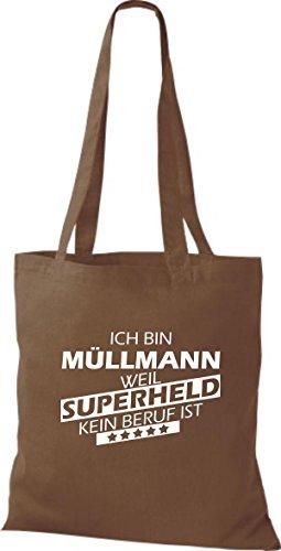 Tote Bag Shirtstown Sono Spazzino Perché Supereroe Nessuna Professione È Marrone Medio