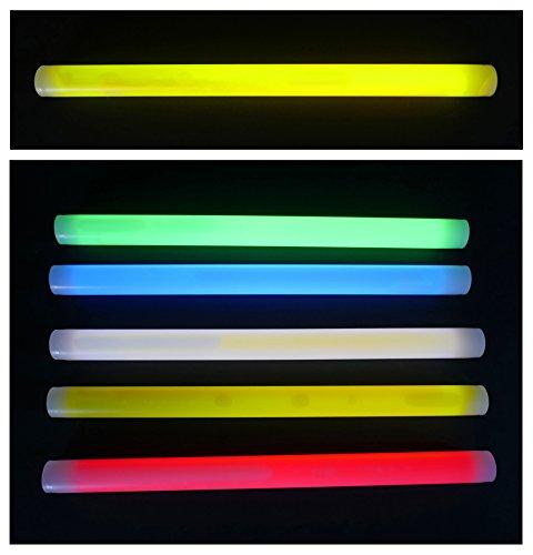 Xtrem Knicklicht 350 x 25 mm FETT und extrem Helle Leuchtstäbe, 7 Farben, Knicklichter optimal als SOS Outdoor Survival Tauchen LED Glowstick Partylicht Neon weiß rot gelb grün orange blau (Gelb)