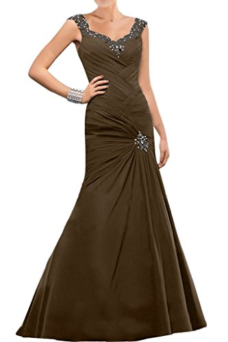 Sunvary Elegant Mutterkleider Neu Meerjungfrau Chiffon Applikation Paillette  Abendkleider Lang Schokolade