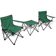 vidaXL Mesa de Camping Tres Piezas y 2 Sillas Verde