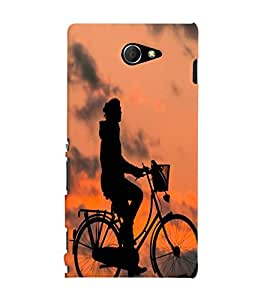Printvisa Premium Back Cover Shadow Image Of A Cyclist Design For Sony Xperia M2 Dual D2302::Sony Xperia M2