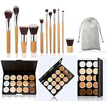 JasCherry 11 Pcs brochas de maquillaje + 15 Colores Corrector Camuflaje Paleta de Maquillaje Cosmética Crema - Perfecto para Sso Profesional y Diario