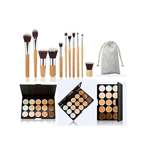 JasCherry 11 Stück Make Up Pinsel + 15 Farben Concealer Abdeckcreme Camouflage Palette Cover Abdeck Makeup