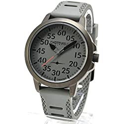Chotovelli 3300-3 Aviator Steel Men's Wrist Watch Analogue Display Grey Army Strap