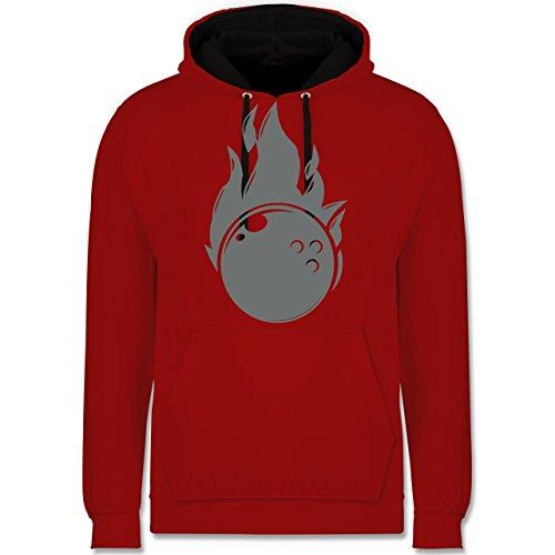 Shirtracer Bowling & Kegeln - Bowling Flammen Ball einfarbig - XS - Rot/Schwarz - JH003 - Hoodie zweifarbig und Kapuzenpullover für Herren und Damen