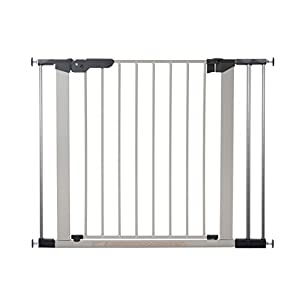 BabyDan Premier door grille / stair gate for clamping, 92.5 - 99.8 cm, - made in Denmark + TÜV / GS approved, color: silver / black