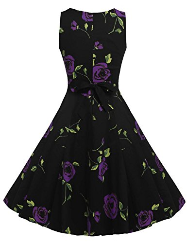 MAX MALL Vintage 1950's Floral Spring Garden Party Sleeveless Cocktail Dress (M, 5Purple)
