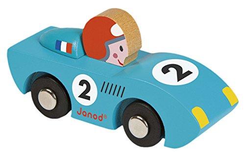Janod Holzspielzeug - Story Rennwagen Set 2 Stück Auto 2 Modelle, Blau