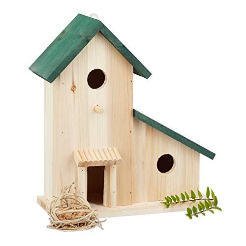 Relaxdays Vogelvilla aus Holz, Dekorative Nisthilfe und Futterhaus, Balkon Oder Garten, HxBxT: 30,5 x 26 x 12 cm, Grün