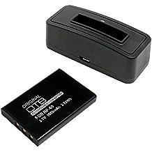 Estación de batería y batería (1000mAh) para HP Photosmart R818;Batería substituye: Fuji NP-60, Casio NP-30, HP L1812A / R07 / A1812A, Kodak Klic-5000