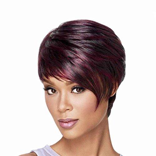 Xuanhemen Fashion Bob Ladies Perruques synthétiques pour femmes Frisette incliné Perruques à cheveux courts Rouge à vin