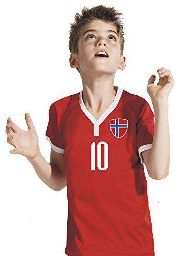 Aprom-Sports Norwegen Kinder Trikot - Hose Stutzen inkl. Druck Wunschname + Nr. RRR WM 2018 (128) (Norwegen Fußball Trikot)
