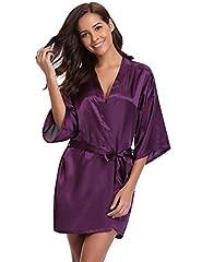 Idea Regalo - Aibrou Pigiama Kimono,Elegante Vestaglia Raso Corta, Camice da Notte con Cintura
