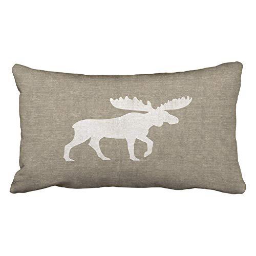 yiyuanyuantu Pillowcases Modern Popular Moose Silhouette Burlap Style Cushion Decorative Pillowcase Polyester 20 x 30 Inch Rectangl King Size Pillow Covers Hidden Zipper