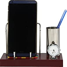 Deals Outlet Brass & Stainless Steel Mobile Stand With Watch Pen Holder