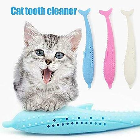 Cutito Katze Zahnbürste, Silikon Fisch Form Beißring Spielzeug mit Katzenminze Haustier Spielzeug – Rosa