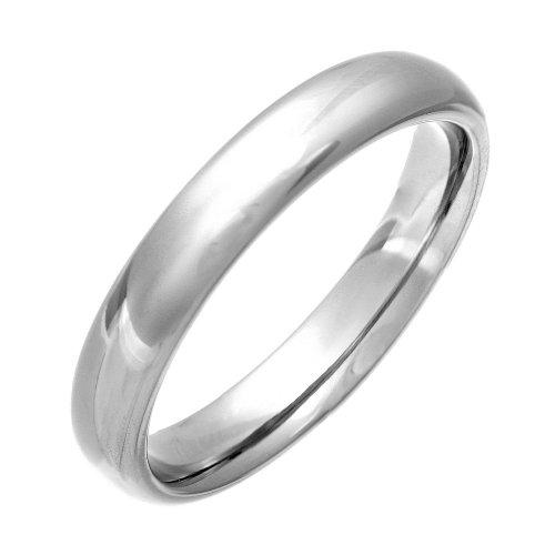 Theia Ring Titan Court Shape - hochglanzpolierter 4mm - Größe 58 (18.5) (Größe Sterling 9 Ring Silber Mens)