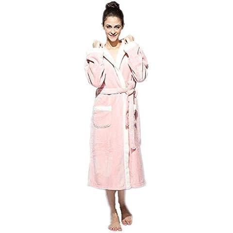 LIUDOUTúnica con capucha camisón Coral Fleece traje par pijamas hombres mujeres batas de baño , pink , xxl