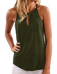 YOINS Mujeres Camisetas sin Mangas Camisas Elegante Blusa Casual Chaleco de Verano Playa Camiseta para Mujere Cuello V Top