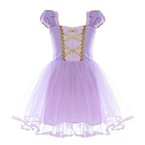 dPois Mädchen Prinzessin Kleid Kurzarm Märchen Kleid Kostüm Kleinkind Partykleid Kinderkostüm für Geburstag Halloween Karneval Fasching Kostüm Verkleidung Lavender 86-92/18-24 Monate (Kleinkinder Kostüme Prinzessin)
