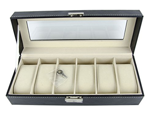 Feibrand-Faux-Leather-Watch-Display-Box-with-Key-6-Slot