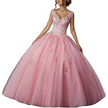 1ff21dabc Vestido de Fiesta Largo Vestido de Novia Vestidos de quinceañera Encaje Tul  V-Cuello