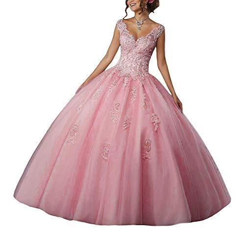 295629c35 Vestido de Fiesta Largo Vestido de Novia Vestidos de quinceañera Encaje Tul  V-Cuello Rosa