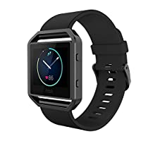 Simpeak Fitbit Blaze Bands with Frame, Silicone Replacement Band Strap with Stainless Steel Frame Case for Fitbit Blaze Smart Fitness Watch