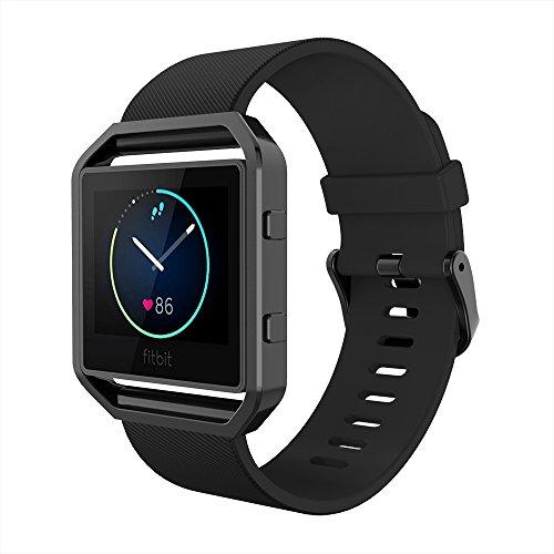Simpeak Ersatz Fitbit Blaze Armband mit Rahmen, Silikon Ersatz Band Strap mit Schönen Rahmen Fall Ersatz Fitbit Blaze Smart Fitness Watch,Große,Black Band+Schwarz Frame