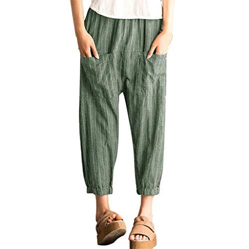 MCYs ❤ Damen Streifen hohe Taillen Baumwoll und Leinenlange Hosen Beiläufige Strand Hosen