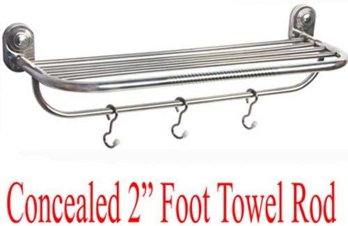 SHRUTI (Nikku) Heavy Duty Stainless Steel Bathroom Concealed Towel Rod / Towel Stand / Towel Holder / Towel Rack for routine use of Bathroom Accessories - 2 Foot Long (1614)